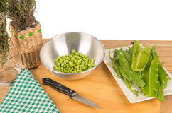 Peas kitchen still life Royalty Free Stock Photography