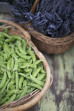 Peas and lavender Stock Image