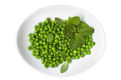 Peas with Mint Top View Isolated Royalty Free Stock Photography
