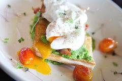 Peas poached eggs Royalty Free Stock Images