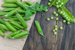Peas and pods of peas on a dark background. Royalty Free Stock Photo