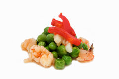 Peas and prawns Royalty Free Stock Photography