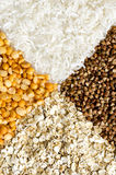 Peas, rice, buckwheat and oats Royalty Free Stock Photography