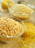 Peas, rice and pasta - food ingredient Stock Images