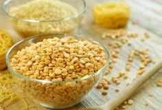 Peas, rice and pasta - food ingredient Stock Photos