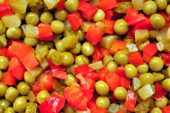 Peas salad. Peas and pickles salad hotchpotch food background texture royalty free stock photos