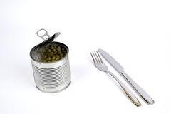 Peas in tin canned with knife and fork Stock Image