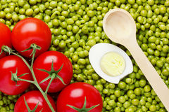 Peas and Tomatoes Stock Photo