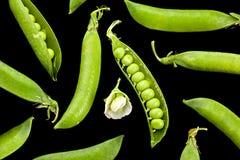 Peas vegetable on black Stock Photography