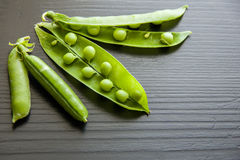Peas vegetable closeup isolated on black background Stock Image