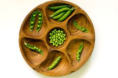 Peas in vintage bowl Stock Images