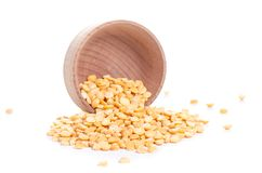 Peas in wooden bowl stock images