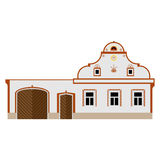Peasant baroque country building. Isolated vector illustration of country house, middle european architecture Stock Photography