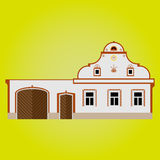Peasant baroque country building. Vector illustration of country house, middle european architecture Stock Photography