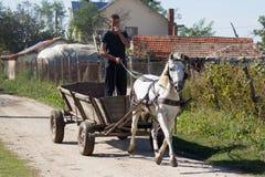 Peasant in cart Stock Photo