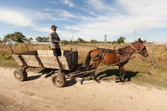 Peasant in cart Royalty Free Stock Photography