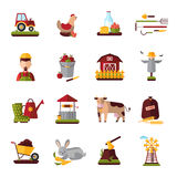 Peasant Farm Household Flat Icons Collection Royalty Free Stock Photos