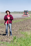Peasant on farmland Stock Image