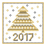 Peasant folk rustic motif of christmass tree. Cross stitch pattern. vector illustration of new year greetings card Stock Photos