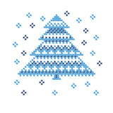Peasant folk rustic motif of christmass tree. Cross stitch pattern. vector illustration of new year greetings card Stock Photography