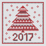 Peasant folk rustic motif of christmass tree. Cross stitch pattern. vector illustration of new year greetings card Stock Images