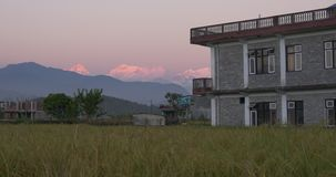 Peasant house in the mountains of Nepal stock video footage