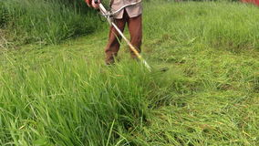 Peasant man with trimmer cut grass in summer garden. Closeup. Peasant man with trimmer cut high grass in summer garden. Closeup shot on Canon XA25. Full HD 1080p stock footage