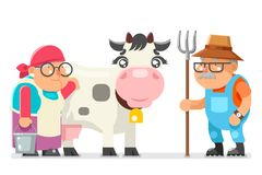 Peasant milkmaid farmer granny grandfather adult rancher old age woman man character cartoon villager isolated flat. Peasant milkmaid farmer granny grandfather Stock Photo