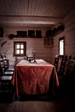 In peasant's house. Peasant's house interior- table, chears, candles and other Royalty Free Stock Photos