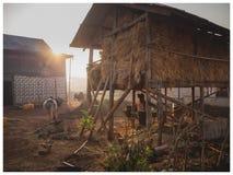 Peasant scene at sunrise, Kalaw, Myanmar stock image