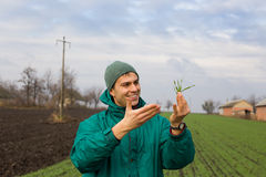Peasant with seedlings Stock Photography