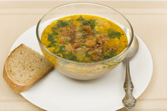 Peasant soup with bread Royalty Free Stock Photography
