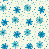 Peasant style simple floral pattern on blue color. Stock Photo