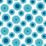 Peasant style simple floral pattern on blue color. Stock Photography