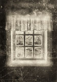 Peasant window sepia Royalty Free Stock Images