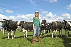 Peasant woman and her cows Stock Images