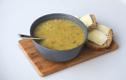 Peasoup with bread Royalty Free Stock Photos