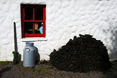 Peat blocks. In front of an old cottage in ireland stock photos