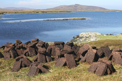 Peat Drying, North Uist. Blocks of cut peat drying, North Uist, Outer Hebrides stock photo