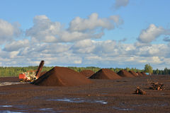 Peat extraction Royalty Free Stock Images