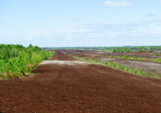 Peat extraction sites. In Kildare, Ireland royalty free stock photos