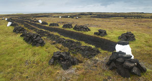 Peat in the ground. Lewis isle. Hebrides. UK Royalty Free Stock Photography
