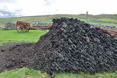 Peat pile. With old wooden cart royalty free stock photo