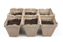 Peat pots. For seedlings to the ground royalty free stock photos