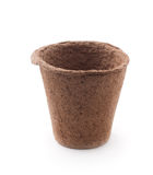Peat Pots. Biodegradable Peat Moss Pots  Isolated On White Background Royalty Free Stock Photo