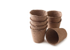 Peat Pots. Biodegradable Peat Moss Pots   On White Background Royalty Free Stock Photos