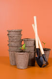 Peat pots, seedlings and garden tools Royalty Free Stock Images