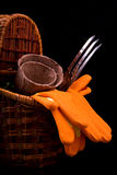 Peat pots for seedlings, rakes, orange gloves and a basket on a Royalty Free Stock Photography