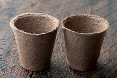 Peat Pots. Two Peat Pots on is  wooden background Stock Photo