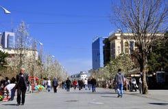 Peatones que caminan a lo largo del bulevar Nene Tereza en Pristina foto de archivo